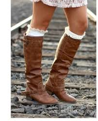 womens boots zip up boots back zipper buckle rustic brown knee high