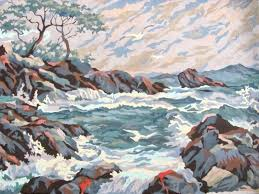 paint by number paintings diy murals crafts a la mode ocean view violent waves painting
