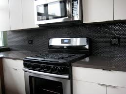 black backsplash kitchen black themed subway tiles backsplash outofhome