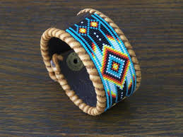 leather bracelet with beads images Native american beaded chevron leather bracelet ljgreywolf jpg