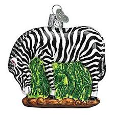 world zebra glass blown ornament home