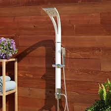 brently outdoor shower panel with hand shower white outdoor