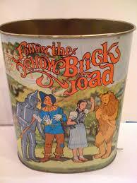 Yellow Wastebasket Vintage Wizard Of Oz Follow The Yellow Brick Road Metal Trash Can