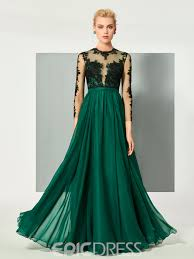 ericdress a line long sleeve lace applique floor length long