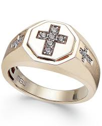 cross gold rings images Macy 39 s men 39 s diamond cross ring 1 5 ct t w in 10k gold rings tif