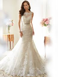 designer wedding dresses fit and flare wedding dress with bateau neckline