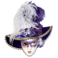 mask with feathers italian modern handmade carnival purple gold mask with hat and