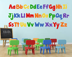 Alphabet Wall Decor Etsy - Alphabet wall decals for kids rooms
