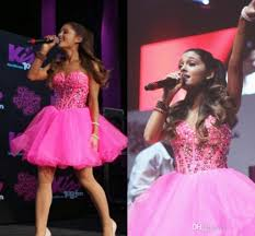 2016 New Pink Ariana Grande Homecoming Dresses 2015 Crystal