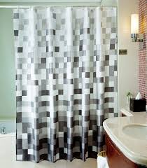 Grey Wall Bathroom Hall Extra Long Curtain Rods With Lighting Lamp And White Ceramic
