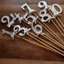 silver wedding table numbers table numbers on sticks in glitter silver silver wedding decor