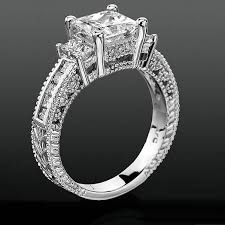 carved engagement rings princess channel set beaded milgrain carved diamond