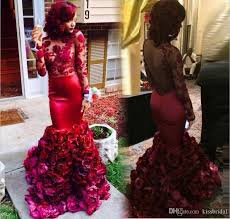 2016 burgundy mermaid prom dresses with floral decorated