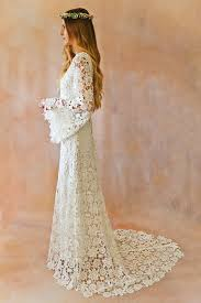 trumpet sleeve wedding dress white lace crochet bell sleeve simple bohemian wedding dress by