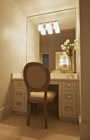 Unfinished Wood Vanity Table Beige High Gloss Finish Make Up Table With Wall Lights On