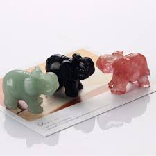 elephant figurines 3pcs green aventurine black obsidian and