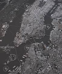 Satellite View Maps New York City Map Satellite View Map In Negative Stock Photo