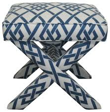 x bench navy and white geometric contemporary upholstered