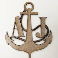 anchor wood anchor personalized wedding cake topper personalized wedding