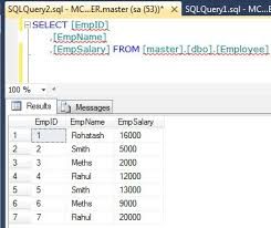 employee table sql queries using go and semi colon in sql server 2012