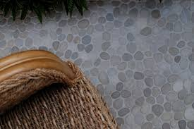 level flat cut pebble tile floor