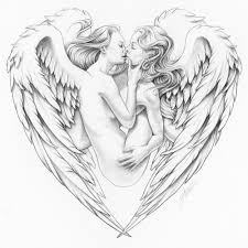 angels kissing in heart romantic print of