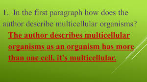 multicellular organisms u0026 organization of organisms and cell