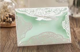 wedding invitations laser cut mint white flower wedding invitation envelope ribbon laser cut