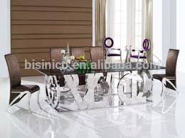 glass metal dining table special design 304 stainless steel dining room table with glass top