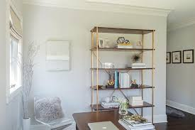 Brass Bookcase Wood And Brass Bookcase Transitional Den Library Office