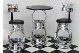garage table and chairs rod bar stools classic car wheel stool and table set furniture