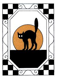 vintage halloween clip art black cat with moon the graphics fairy