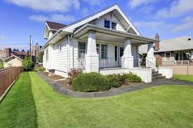 american craftsman typical american craftsman style house with column porch stock photo