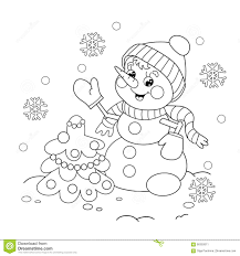 coloring page outline of snowman with christmas tree stock vector