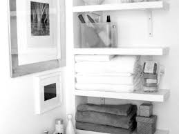 Bathroom Tidy Ideas by Bathroom Wall Interior Floating White Wooden Four Shelves For