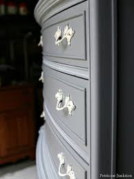 gray furniture with spray painted hardware