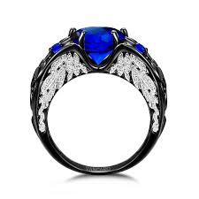 vancaro wedding rings heart cut lab created blue sapphire black wedding ring for women