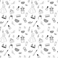 hand drawn fashion seamless pattern coloring pages