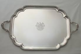 engraved silver platter trays and dinner plates