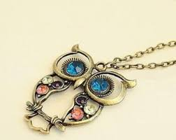 necklace with owl pendant images Owl pendant necklace etsy jpg