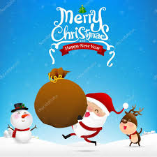 imagenes de santa claus feliz navidad feliz navidad texto y santa claus de dibujos animados holding ba de