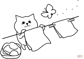 cat is hanging out clothes coloring page free printable coloring
