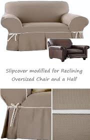 slipcovers for chair and a half reclining snuggler chair and a half slipcover contrast taupe adapted