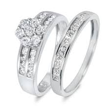 wedding ring set for 7 8 ct t w diamond women s bridal wedding ring set 14k white gold