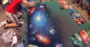 Amazing Spray Paint - amazing artist creates his giant galaxy spray paint on the street