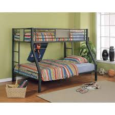 gorgeous black polished wrought iron bunk beds with stairs on the