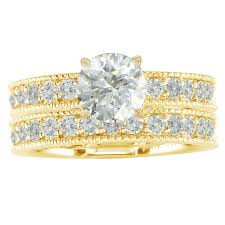 gold bridal sets 14k gold 2 1 2ct tdw diamond eternity bridal ring set h i1 size