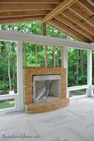 Screen Porch Fireplace by Outdoor Fireplace In Screen Porch With Tv And Eze Breeze Windows