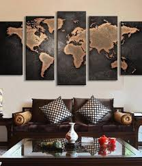 Large Framed World Map by 5 Panel World Map Oil Painting U2013 Travel Bible Shop