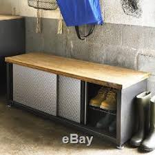 Garage Shoe Storage Bench Storage Bench Industrial Garage Steel Wooden Seat Shoe Organizer Box